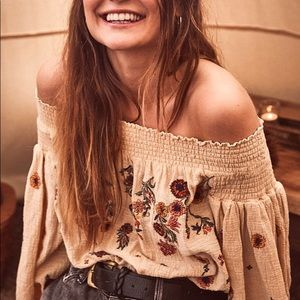 Free People Saachi Smoked Embroidered Crop Top